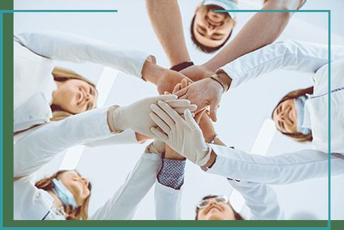 pomoc dentystyczna zespół ręce połączone zespołu dentystycznego